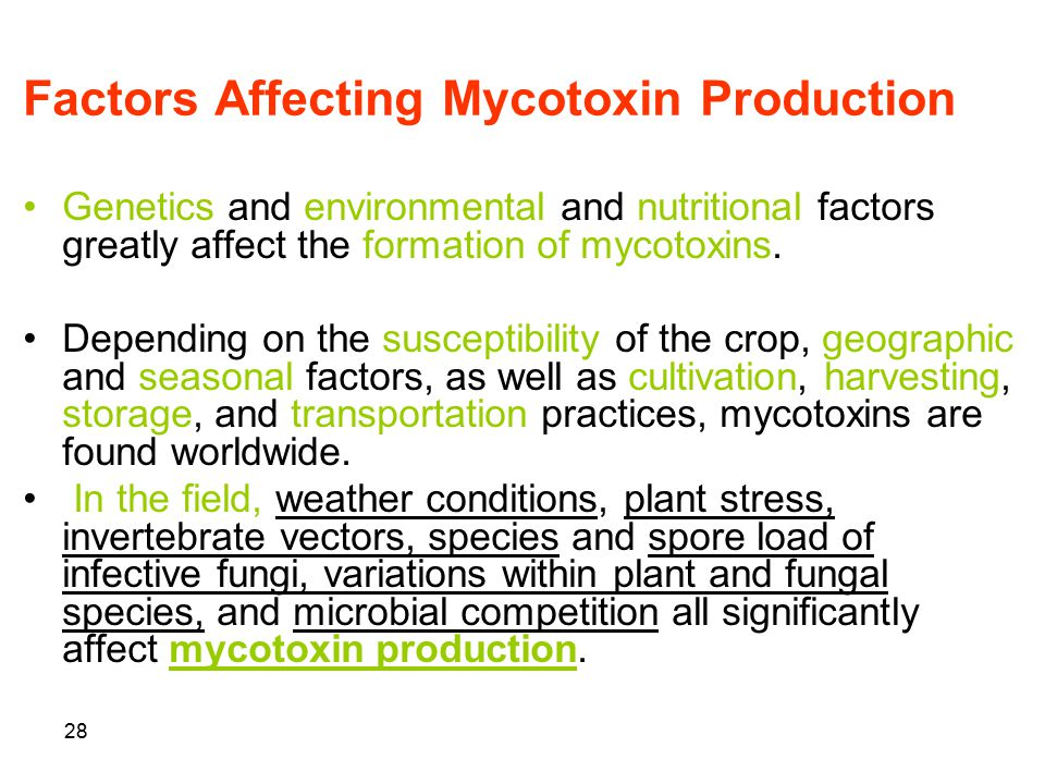 28 Factors Affecting Mycotoxin Production Genetics and environmental and nutritional factors greatly affect the formation of mycotoxins. Depending on