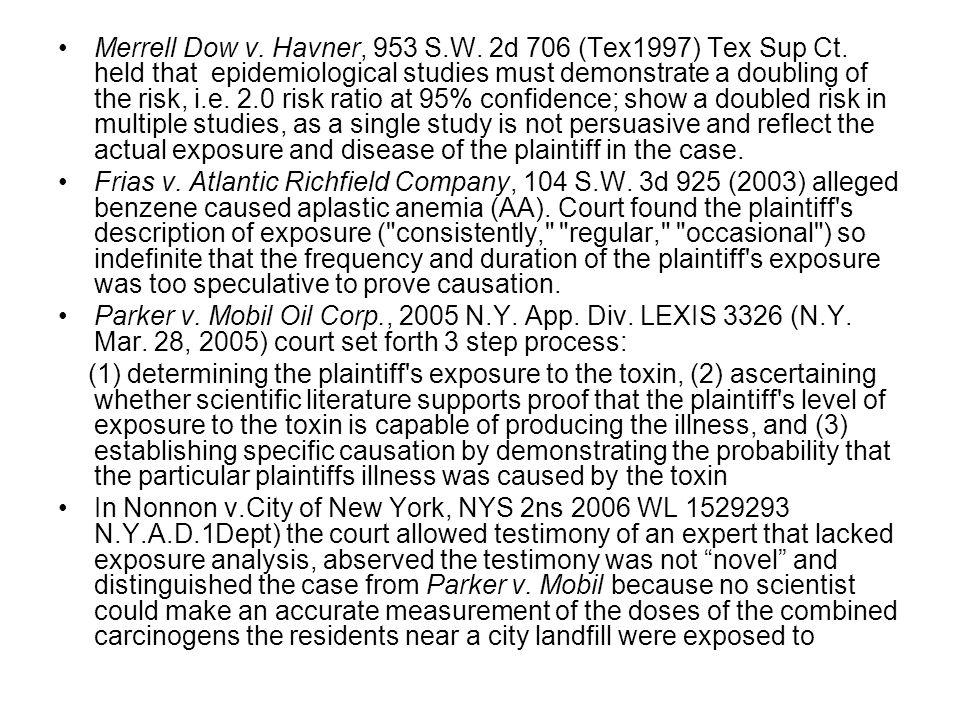 Merrell Dow v. Havner, 953 S.W. 2d 706 (Tex1997) Tex Sup Ct.