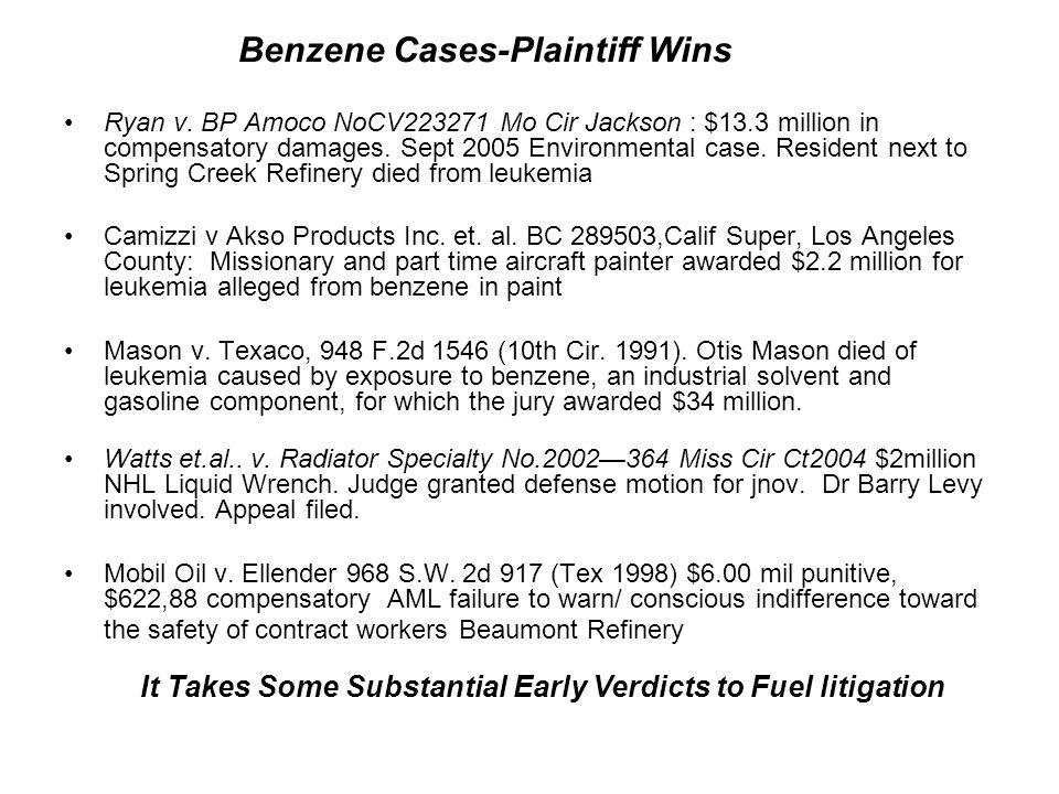 Ryan v. BP Amoco NoCV223271 Mo Cir Jackson : $13.3 million in compensatory damages. Sept 2005 Environmental case. Resident next to Spring Creek Refine