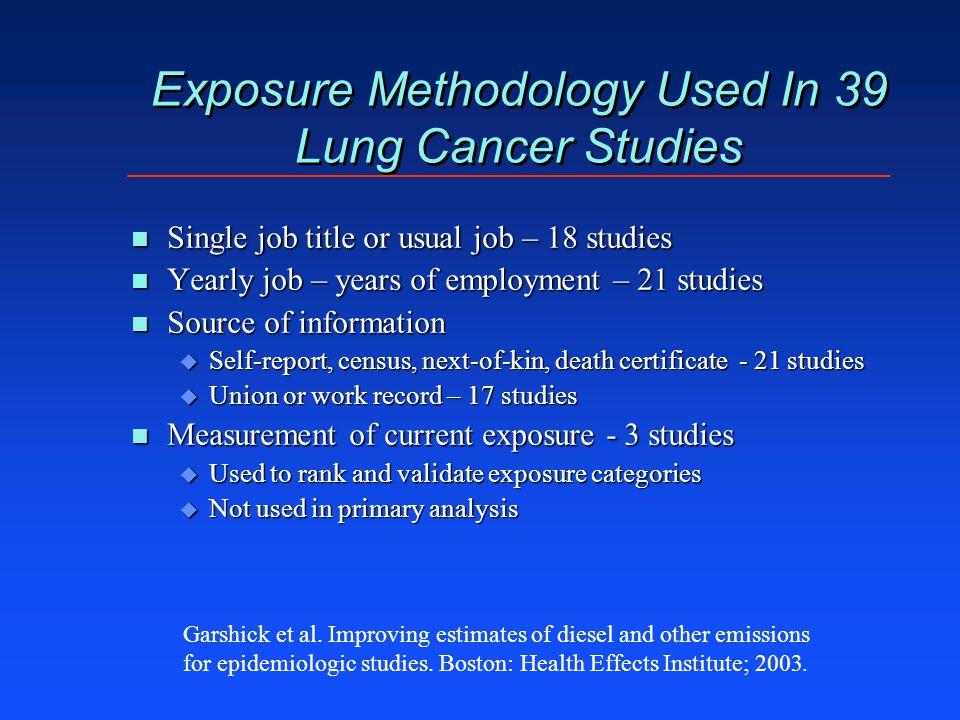 Exposure Methodology Used In 39 Lung Cancer Studies n Single job title or usual job – 18 studies n Yearly job – years of employment – 21 studies n Sou