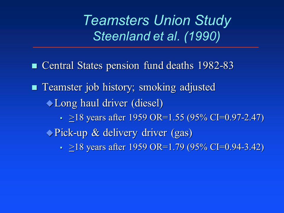 Teamsters Union Study Steenland et al. (1990) n Central States pension fund deaths 1982-83 n Teamster job history; smoking adjusted u Long haul driver