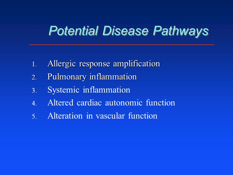 Potential Disease Pathways 1. Allergic response amplification 2. Pulmonary inflammation 3. 3. Systemic inflammation 4. 4. Altered cardiac autonomic fu