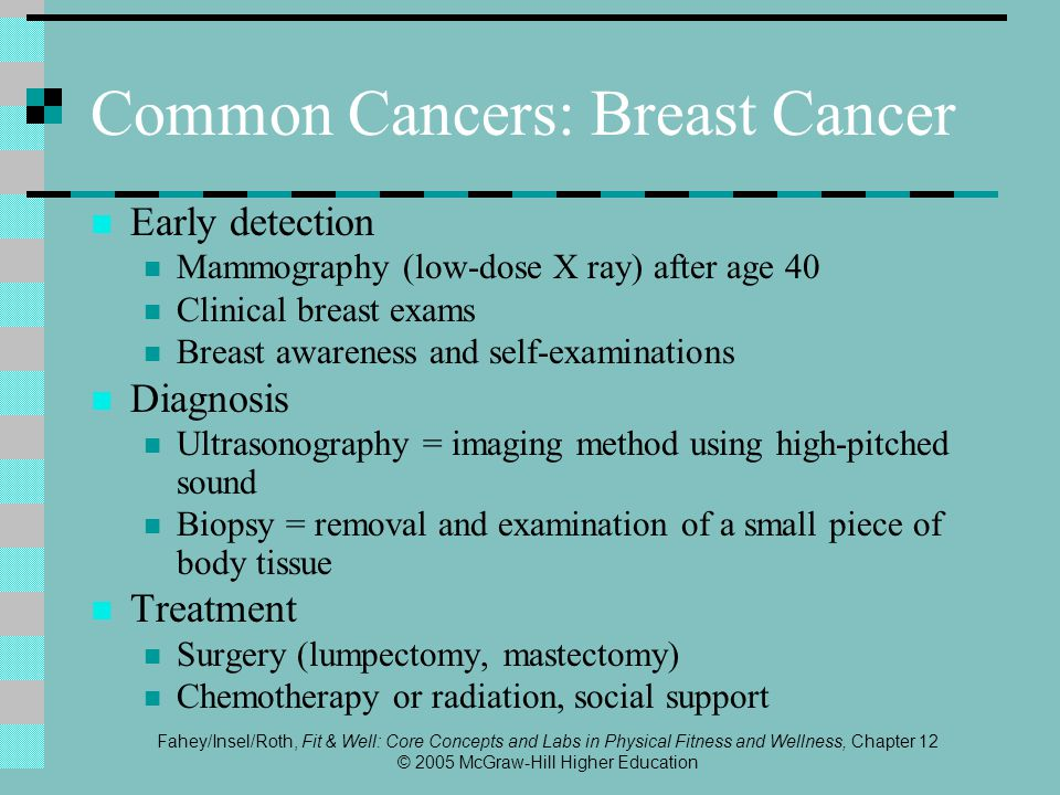 Fahey/Insel/Roth, Fit & Well: Core Concepts and Labs in Physical Fitness and Wellness, Chapter 12 © 2005 McGraw-Hill Higher Education Common Cancers: Breast Cancer Early detection Mammography (low-dose X ray) after age 40 Clinical breast exams Breast awareness and self-examinations Diagnosis Ultrasonography = imaging method using high-pitched sound Biopsy = removal and examination of a small piece of body tissue Treatment Surgery (lumpectomy, mastectomy) Chemotherapy or radiation, social support