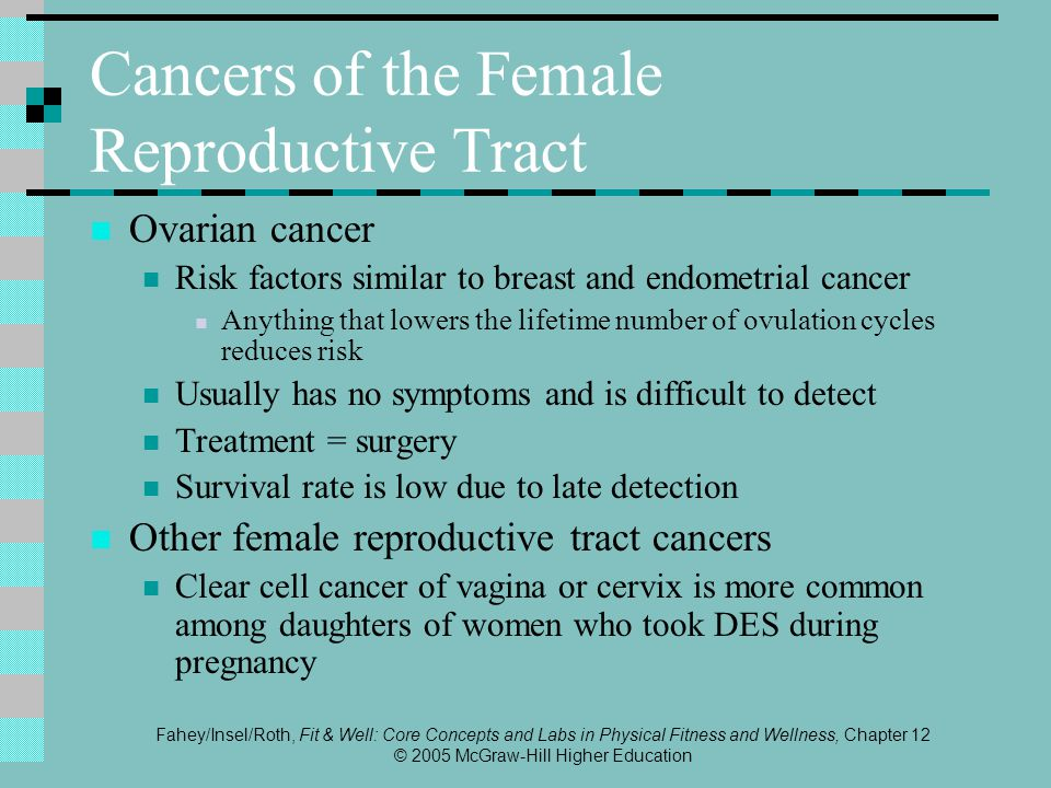 Fahey/Insel/Roth, Fit & Well: Core Concepts and Labs in Physical Fitness and Wellness, Chapter 12 © 2005 McGraw-Hill Higher Education Cancers of the Female Reproductive Tract Ovarian cancer Risk factors similar to breast and endometrial cancer Anything that lowers the lifetime number of ovulation cycles reduces risk Usually has no symptoms and is difficult to detect Treatment = surgery Survival rate is low due to late detection Other female reproductive tract cancers Clear cell cancer of vagina or cervix is more common among daughters of women who took DES during pregnancy