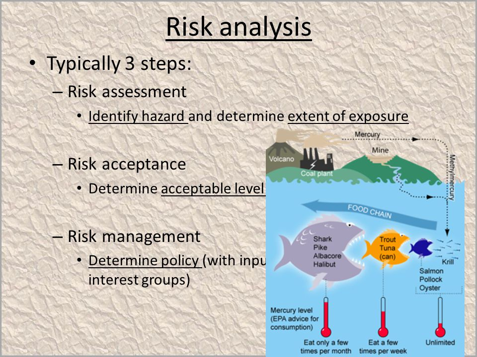Risk analysis Typically 3 steps: – Risk assessment Identify hazard and determine extent of exposure – Risk acceptance Determine acceptable level of ri