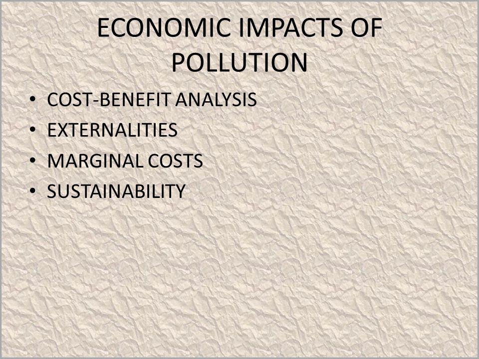 ECONOMIC IMPACTS OF POLLUTION COST-BENEFIT ANALYSIS EXTERNALITIES MARGINAL COSTS SUSTAINABILITY
