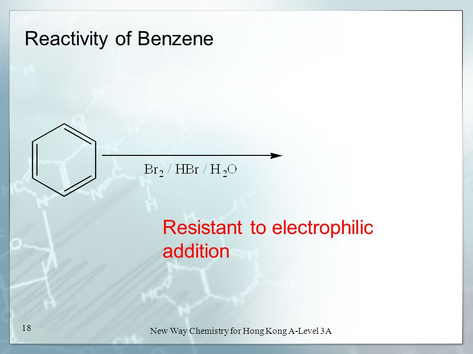 New Way Chemistry for Hong Kong A-Level Book 3A17 New Way Chemistry for Hong Kong A-Level 3A 17 Reactivity of Benzene Not oxidized by KMnO 4