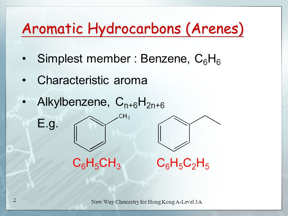 New Way Chemistry for Hong Kong A-Level Book 3A52 New Way Chemistry for Hong Kong A-Level 3A 52 ReactionCyclohexane (a saturated alicyclic hydrocarbon) Cyclohexene (an unsaturated alicyclic hydrocarbon) Methylbenzen e (an aromatic hydrocarbon) Action of bromine in 1,1,1- trichloro- ethane (in dark) No reactionBromine is decolourized and no hydrogen bromide is evolved No reaction with bromine alone.