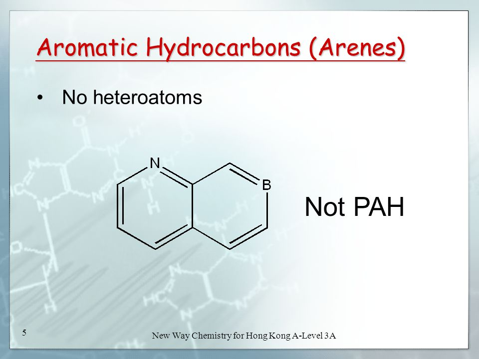 New Way Chemistry for Hong Kong A-Level Book 3A4 New Way Chemistry for Hong Kong A-Level 3A 4 Aromatic Hydrocarbons (Arenes) PAHs : Polyaromatic hydro