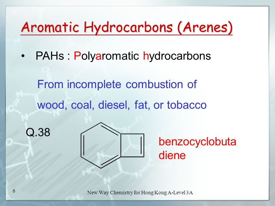 New Way Chemistry for Hong Kong A-Level Book 3A6 New Way Chemistry for Hong Kong A-Level 3A 6 Aromatic Hydrocarbons (Arenes) PAHs : Polyaromatic hydrocarbons From incomplete combustion of wood, coal, diesel, fat, or tobacco Q.38 benzocyclobuta diene
