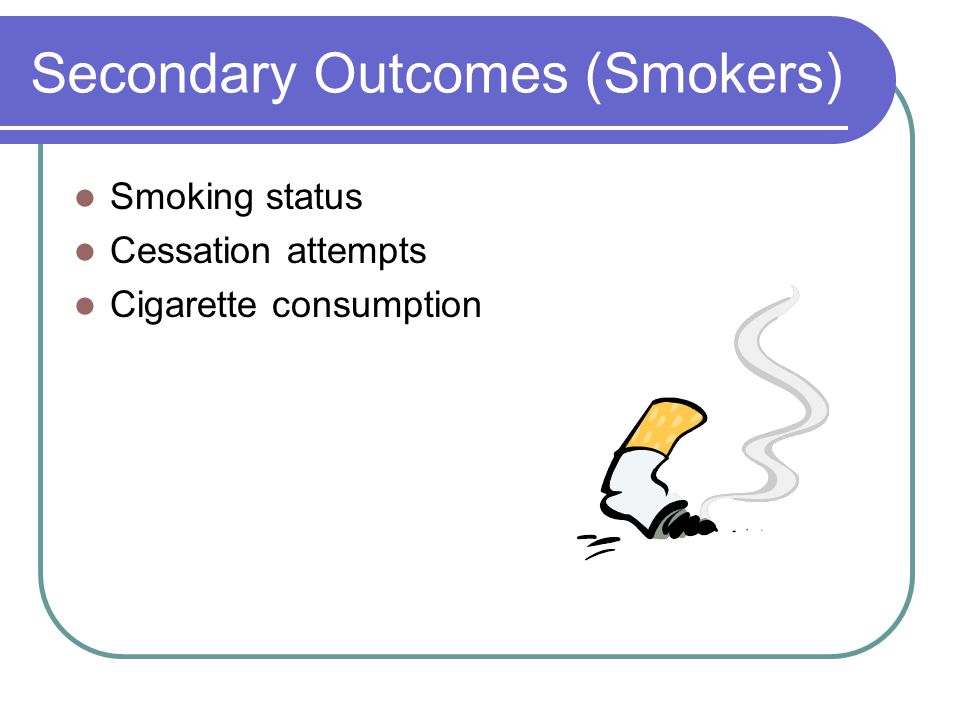 Secondary Outcomes (Smokers) Smoking status Cessation attempts Cigarette consumption