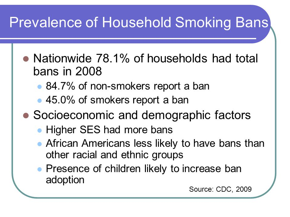 Rationale for Intervention Smoke-free homes: Reduce exposure to secondhand smoke in adult nonsmokers and children May help smokers to quit May disrupt the smoking initiation process