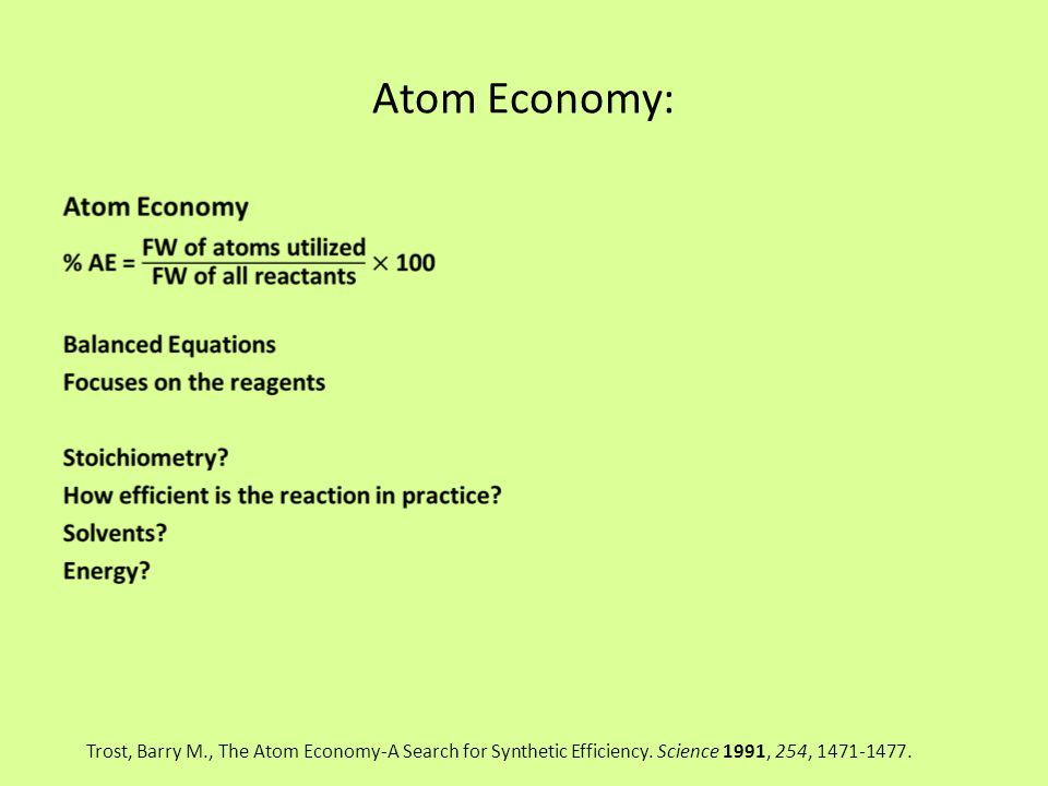 Atom Economy: Trost, Barry M., The Atom Economy-A Search for Synthetic Efficiency. Science 1991, 254, 1471-1477.