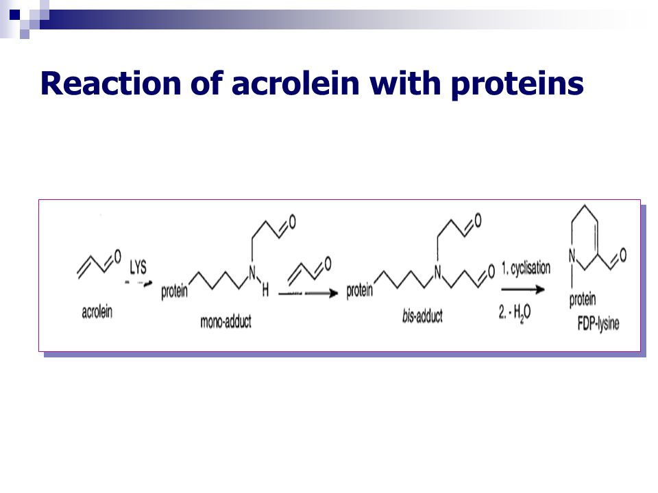 Reaction of acrolein with proteins