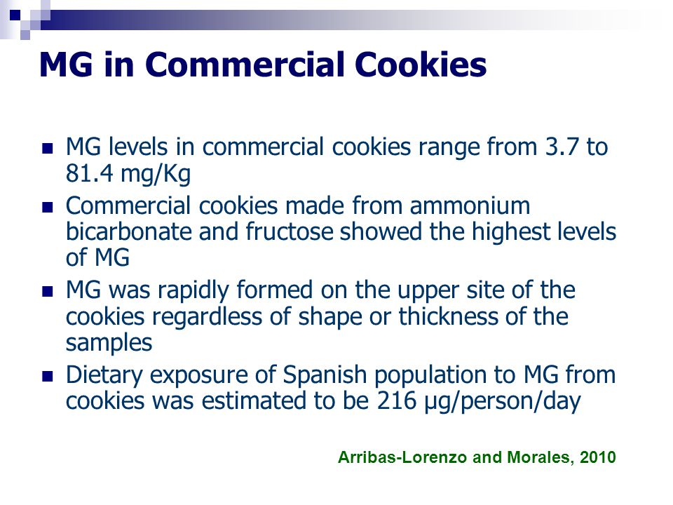 MG in Commercial Cookies MG levels in commercial cookies range from 3.7 to 81.4 mg/Kg Commercial cookies made from ammonium bicarbonate and fructose s