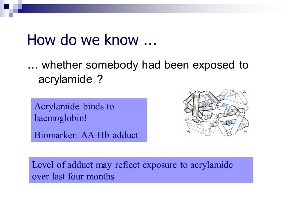 How do we know...... whether somebody had been exposed to acrylamide ? Acrylamide binds to haemoglobin! Biomarker: AA-Hb adduct Level of adduct may re