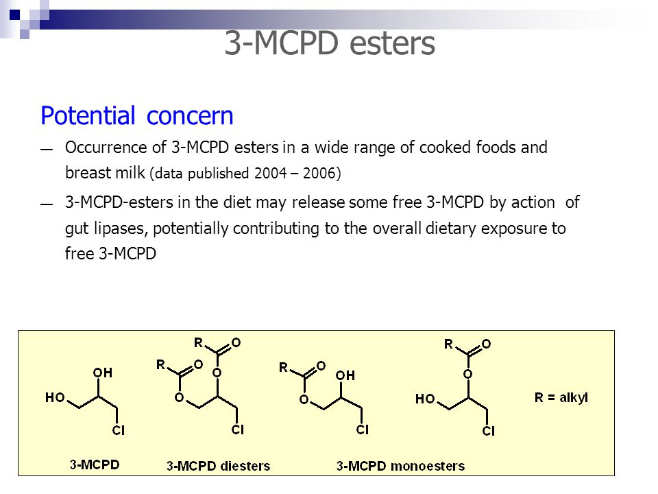 3-MCPD esters Potential concern — Occurrence of 3-MCPD esters in a wide range of cooked foods and breast milk (data published 2004 – 2006) — 3-MCPD-es