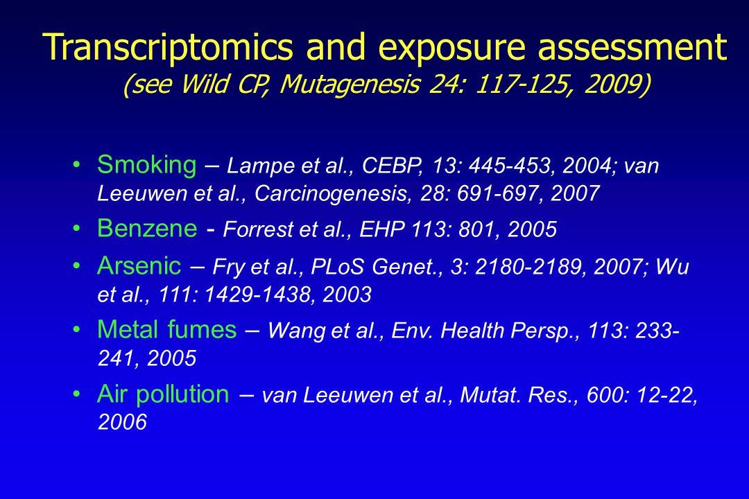 Transcriptomics and exposure assessment (see Wild CP, Mutagenesis 24: 117-125, 2009) Smoking – Lampe et al., CEBP, 13: 445-453, 2004; van Leeuwen et al., Carcinogenesis, 28: 691-697, 2007 Benzene - Forrest et al., EHP 113: 801, 2005 Arsenic – Fry et al., PLoS Genet., 3: 2180-2189, 2007; Wu et al., 111: 1429-1438, 2003 Metal fumes – Wang et al., Env.