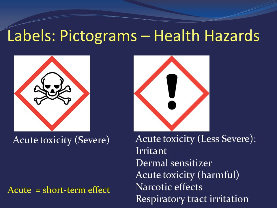 Labels: Pictograms – Health Hazards Acute toxicity (Less Severe): Irritant Dermal sensitizer Acute toxicity (harmful) Narcotic effects Respiratory tract irritation Acute toxicity (Severe) Acute = short-term effect