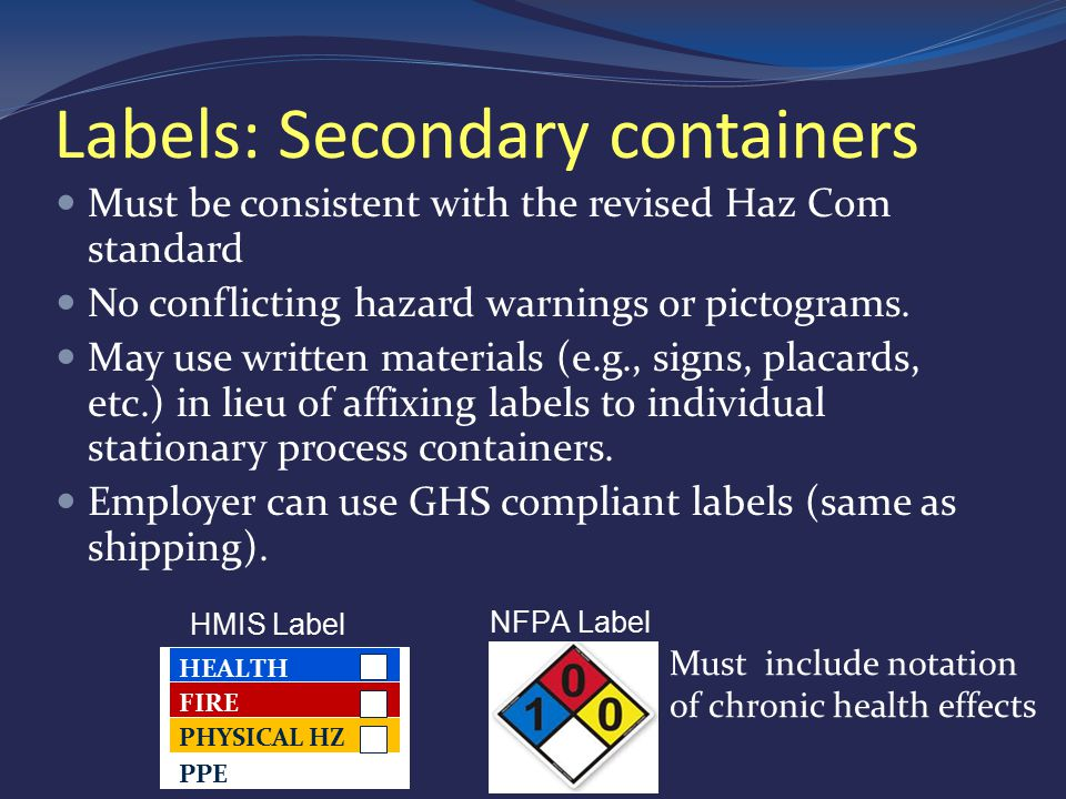 Labels: Secondary containers Must be consistent with the revised Haz Com standard No conflicting hazard warnings or pictograms.
