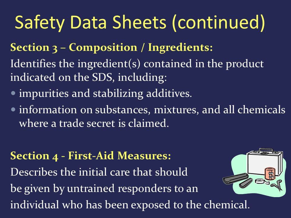 Section 3 – Composition / Ingredients: Identifies the ingredient(s) contained in the product indicated on the SDS, including: impurities and stabilizing additives.