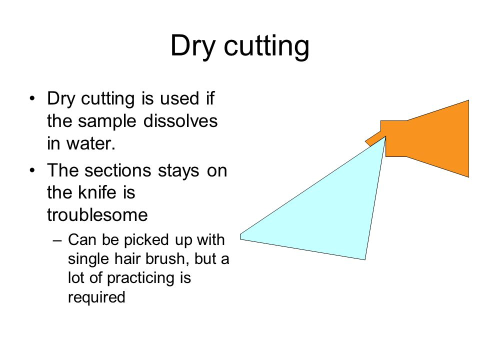 Dry cutting Dry cutting is used if the sample dissolves in water.