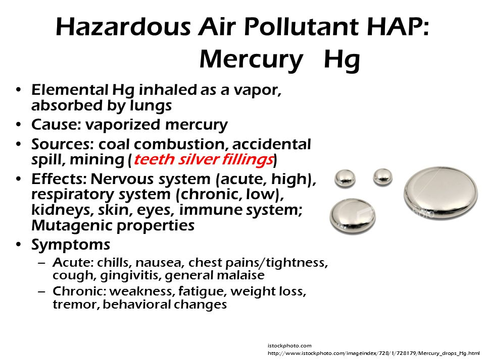 Hazardous Air Pollutant HAP: Mercury Hg Elemental Hg inhaled as a vapor, absorbed by lungs Cause: vaporized mercury Sources: coal combustion, accidental spill, mining (teeth silver fillings) Effects: Nervous system (acute, high), respiratory system (chronic, low), kidneys, skin, eyes, immune system; Mutagenic properties Symptoms –Acute: chills, nausea, chest pains/tightness, cough, gingivitis, general malaise –Chronic: weakness, fatigue, weight loss, tremor, behavioral changes istockphoto.com http://www.istockphoto.com/imageindex/728/1/728179/Mercury_drops_Hg.html