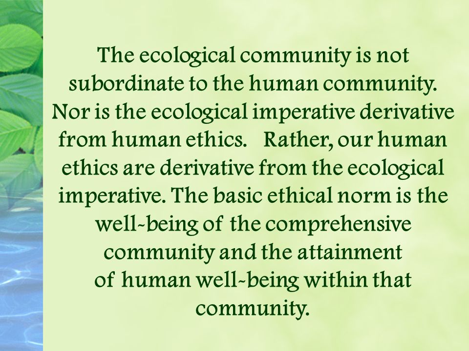 The ecological community is not subordinate to the human community.