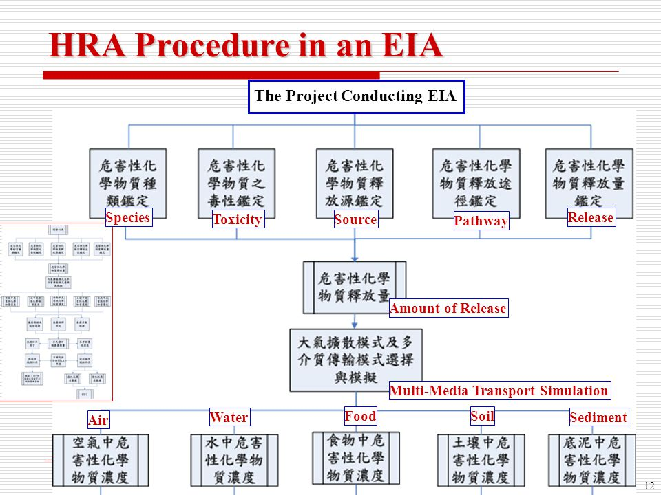 12 HRA Procedure in an EIA The Project Conducting EIA Species ToxicitySource Pathway Release Amount of Release Multi-Media Transport Simulation Air Wa