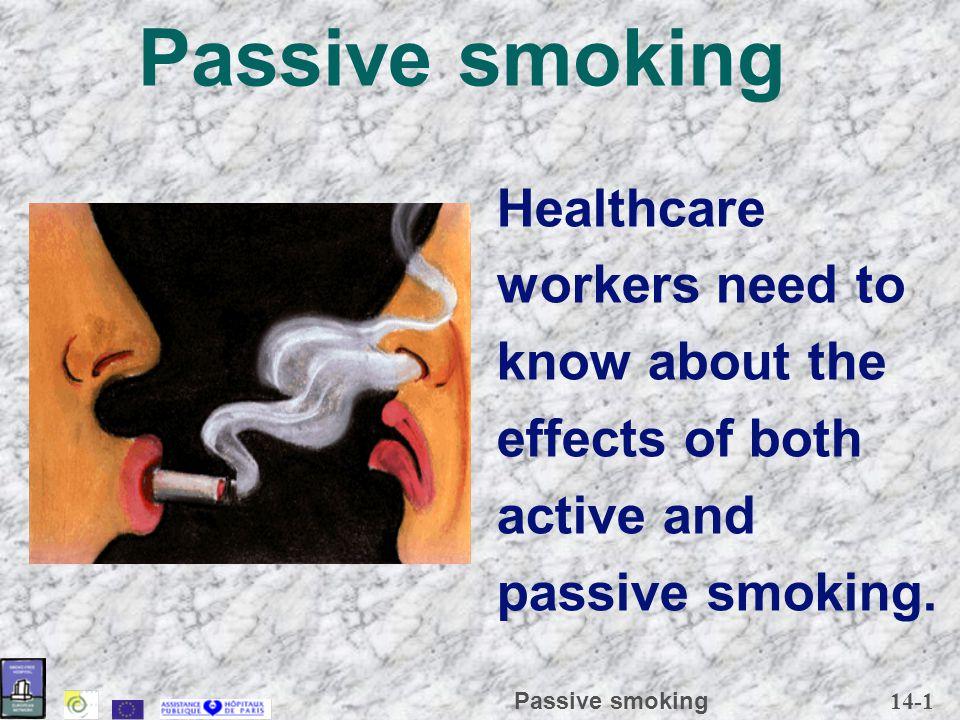 14-2 Passive smoking Streams of tobacco fume Lateral stream or second hand Main stream Smoker Third stream