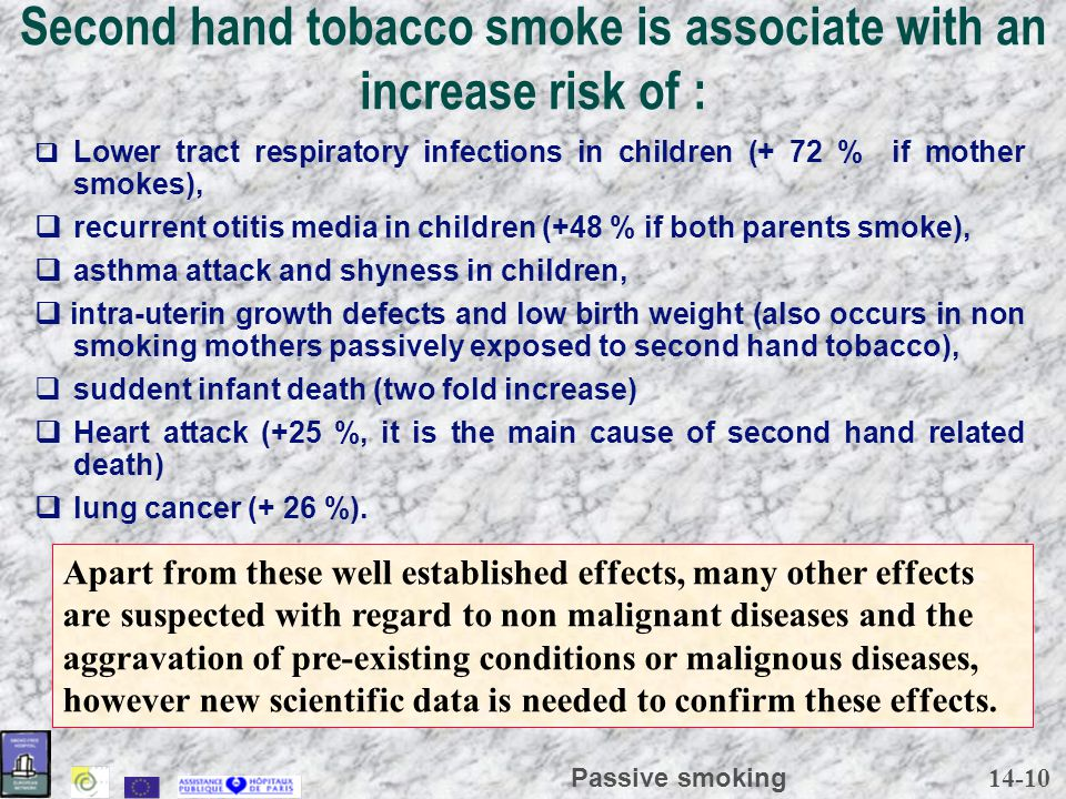 14-10 Passive smoking Second hand tobacco smoke is associate with an increase risk of :  Lower tract respiratory infections in children (+ 72 % if mo