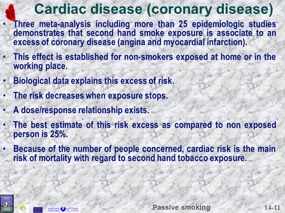 14-11 Passive smoking Cardiac disease (coronary disease) Three meta-analysis including more than 25 epidemiologic studies demonstrates that second hand smoke exposure is associate to an excess of coronary disease (angina and myocardial infarction).