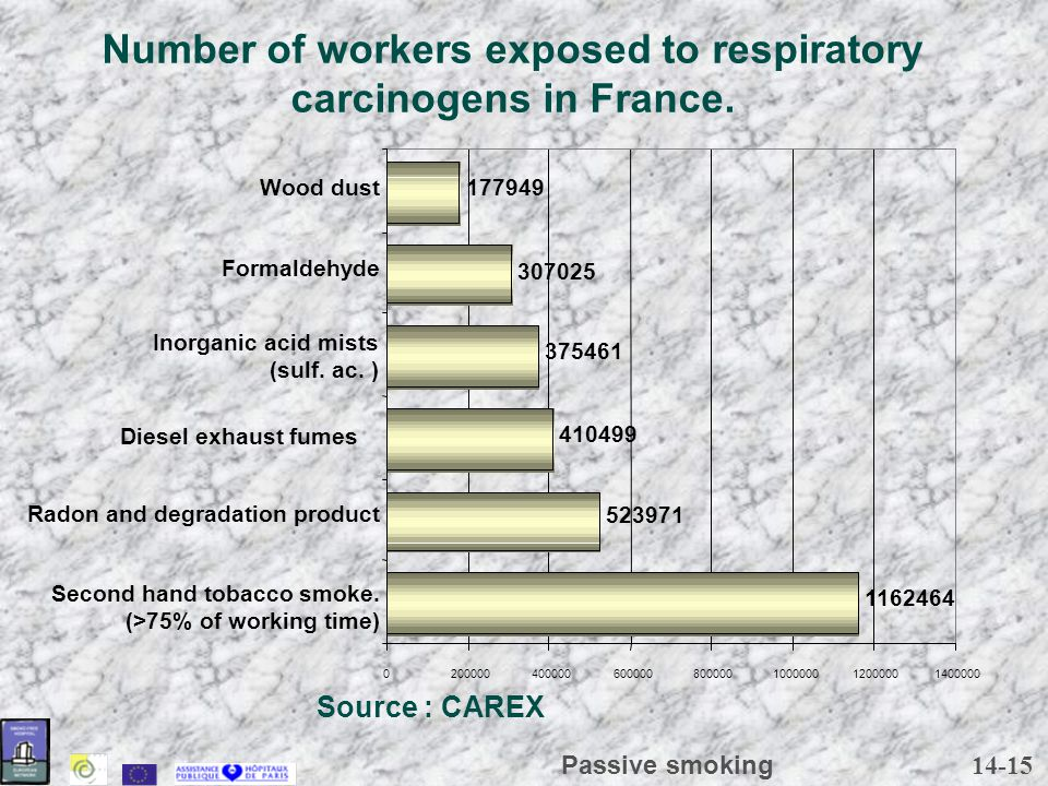 14-15 Passive smoking Number of workers exposed to respiratory carcinogens in France.