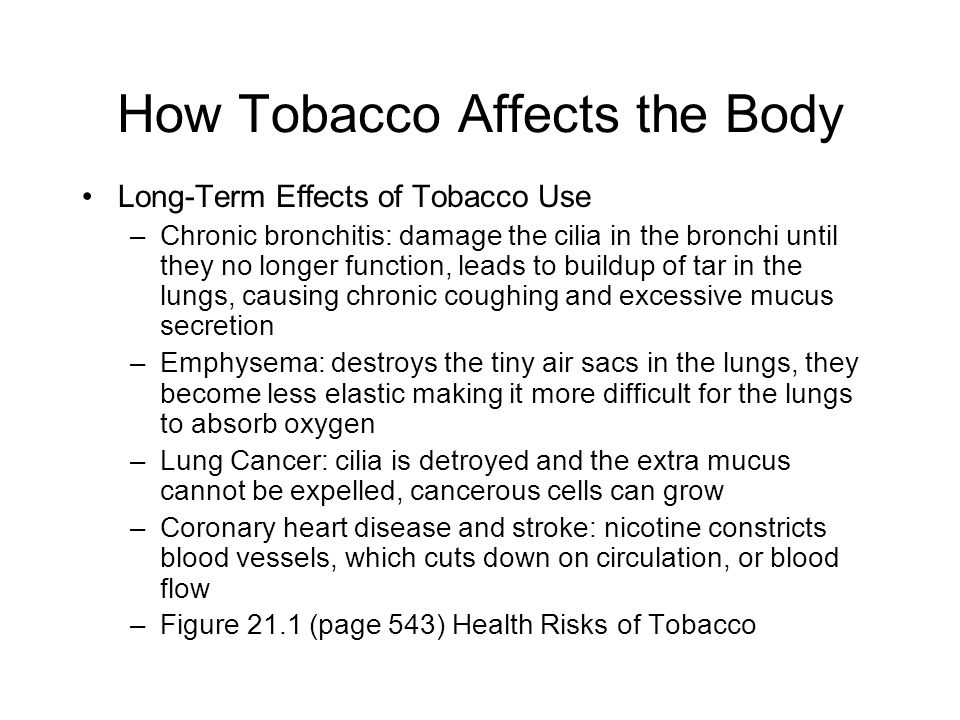 How Tobacco Affects the Body Long-Term Effects of Tobacco Use –Chronic bronchitis: damage the cilia in the bronchi until they no longer function, lead