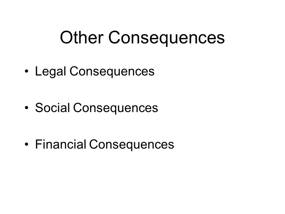 Other Consequences Legal Consequences Social Consequences Financial Consequences
