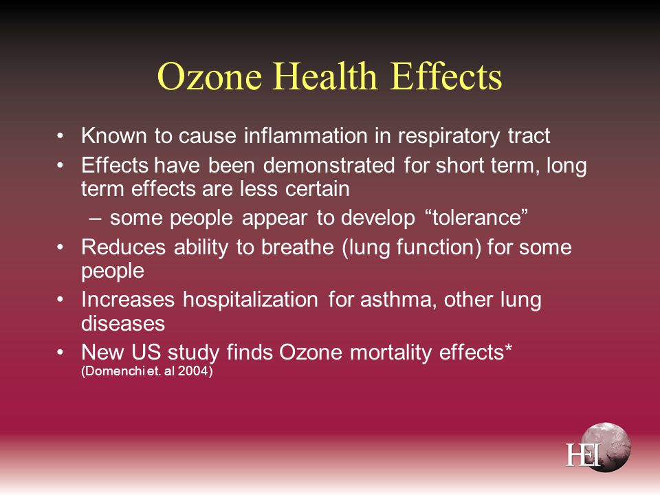 Ozone Health Effects Known to cause inflammation in respiratory tract Effects have been demonstrated for short term, long term effects are less certain –some people appear to develop tolerance Reduces ability to breathe (lung function) for some people Increases hospitalization for asthma, other lung diseases New US study finds Ozone mortality effects* (Domenchi et.