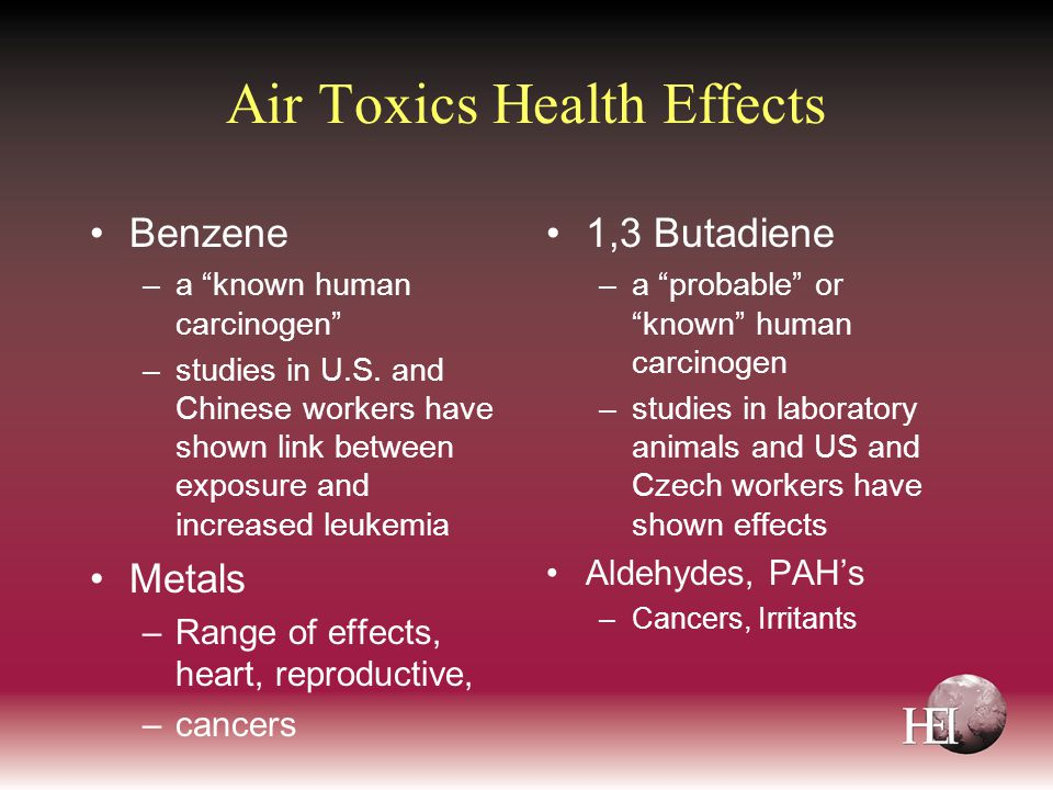 Air Toxics Health Effects Benzene –a known human carcinogen –studies in U.S.