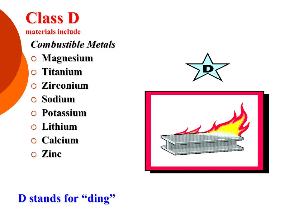Class D materials include Combustible Metals  Magnesium  Titanium  Zirconium  Sodium  Potassium  Lithium  Calcium  Zinc D stands for ding