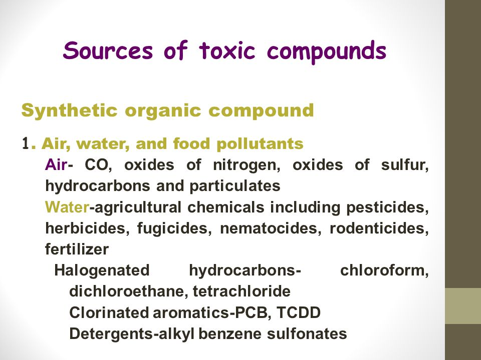 Sources of toxic compounds Synthetic organic compound 1.