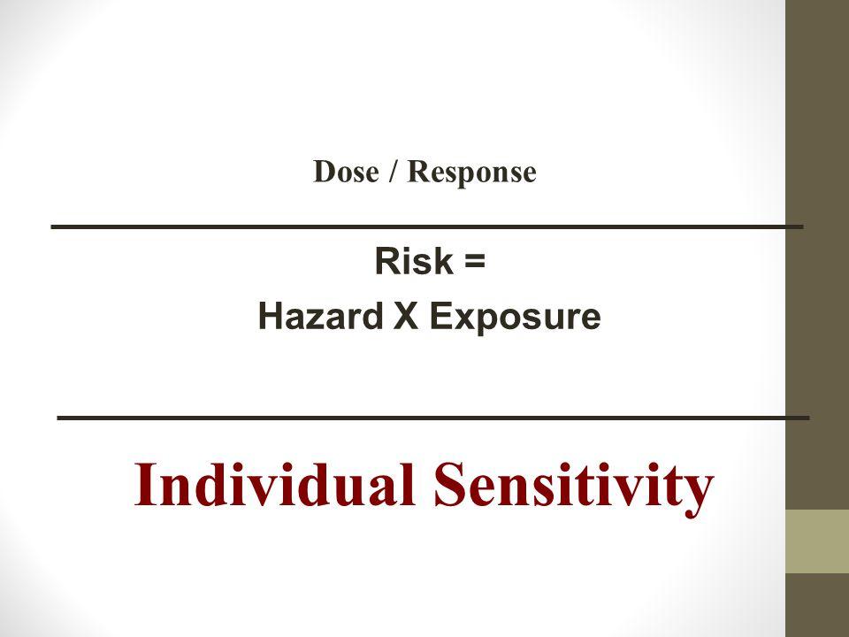 Risk = Hazard X Exposure Dose / Response Individual Sensitivity