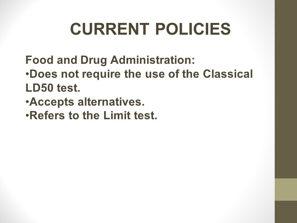 CURRENT POLICIES Food and Drug Administration: Does not require the use of the Classical LD50 test.
