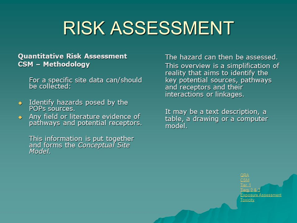 RISK ASSESSMENT Quantitative Risk Assessment CSM – Methodology For a specific site data can/should be collected:  Identify hazards posed by the POPs