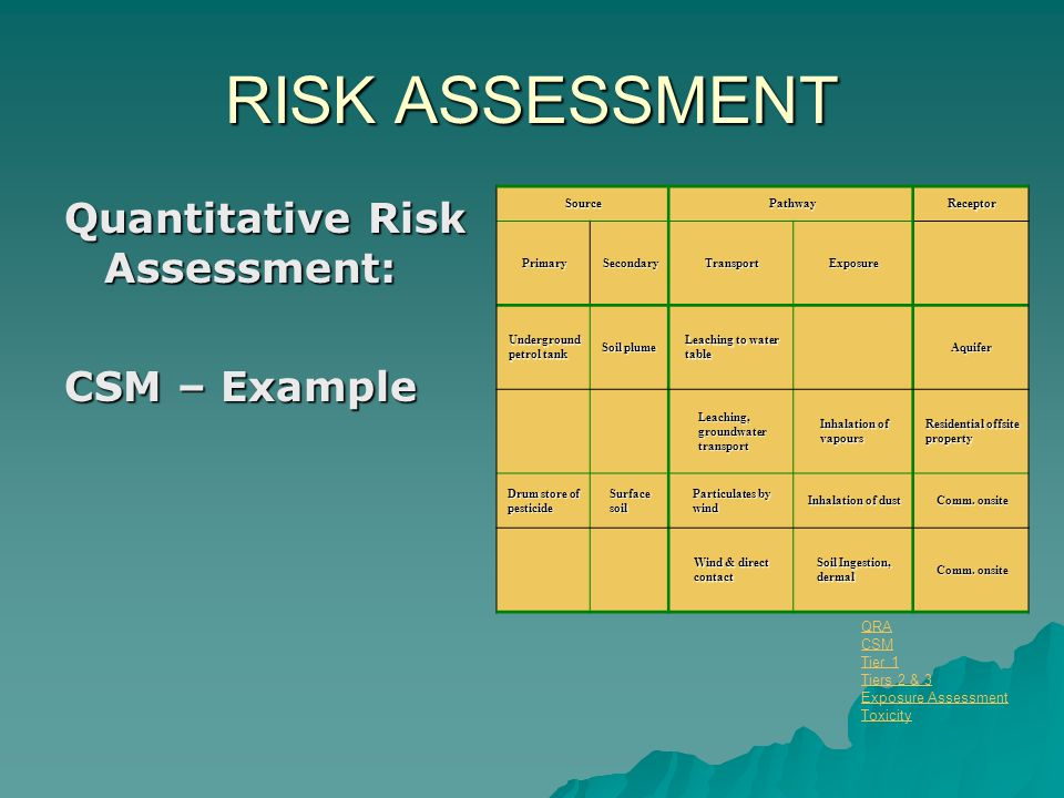 RISK ASSESSMENT Quantitative Risk Assessment: CSM – Example SourcePathwayReceptor PrimarySecondaryTransportExposure Underground petrol tank Soil plume