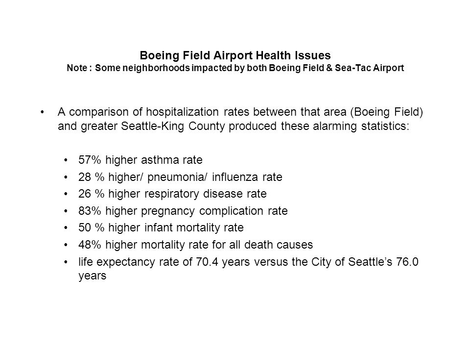 Boeing Field Airport Health Issues Note : Some neighborhoods impacted by both Boeing Field & Sea-Tac Airport A comparison of hospitalization rates bet