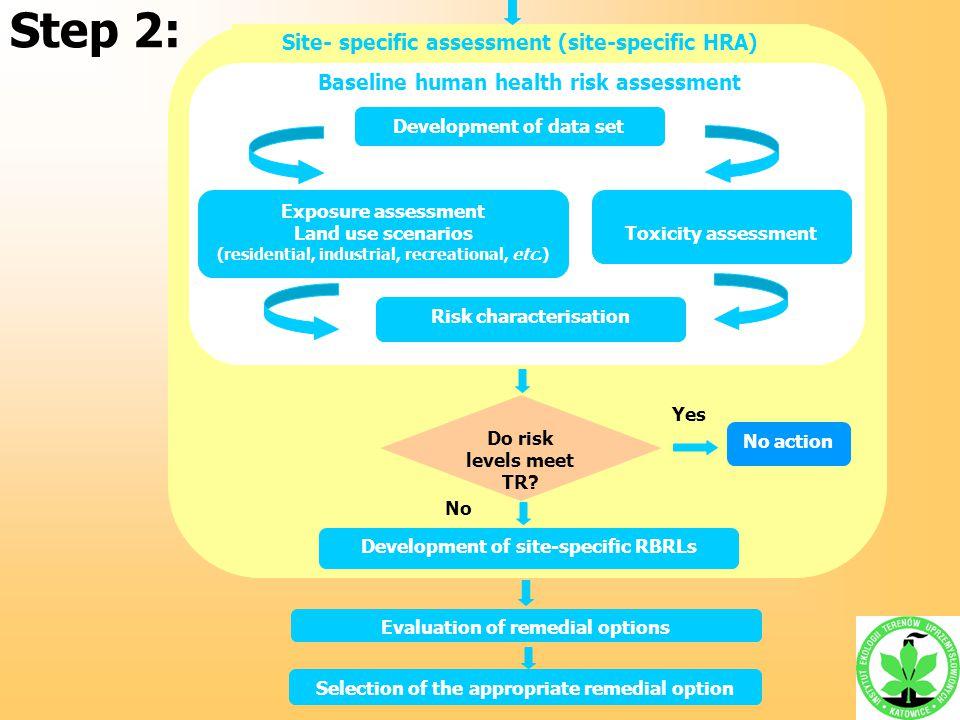 Site- specific assessment (site-specific HRA) Baseline human health risk assessment Development of data set Exposure assessment Land use scenarios (re