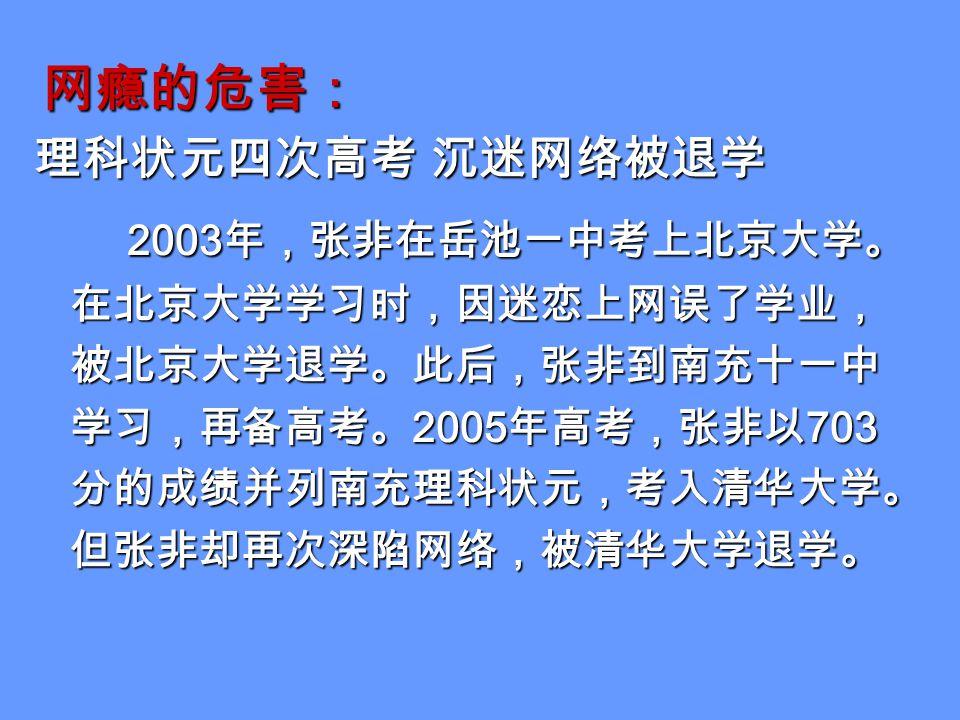 网瘾的危害: 理科状元四次高考 沉迷网络被退学 2003 年,张非在岳池一中考上北京大学。 在北京大学学习时,因迷恋上网误了学业, 被北京大学退学。此后,张非到南充十一中 学习,再备高考。 2005 年高考,张非以 703 分的成绩并列南充理科状元,考入清华大学。 但张非却再次深陷网络,被清华大学退学。 2003 年,张非在岳池一中考上北京大学。 在北京大学学习时,因迷恋上网误了学业, 被北京大学退学。此后,张非到南充十一中 学习,再备高考。 2005 年高考,张非以 703 分的成绩并列南充理科状元,考入清华大学。 但张非却再次深陷网络,被清华大学退学。