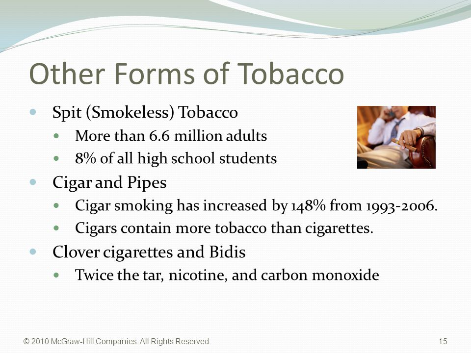 © 2010 McGraw-Hill Companies. All Rights Reserved. 15 Other Forms of Tobacco Spit (Smokeless) Tobacco More than 6.6 million adults 8% of all high scho