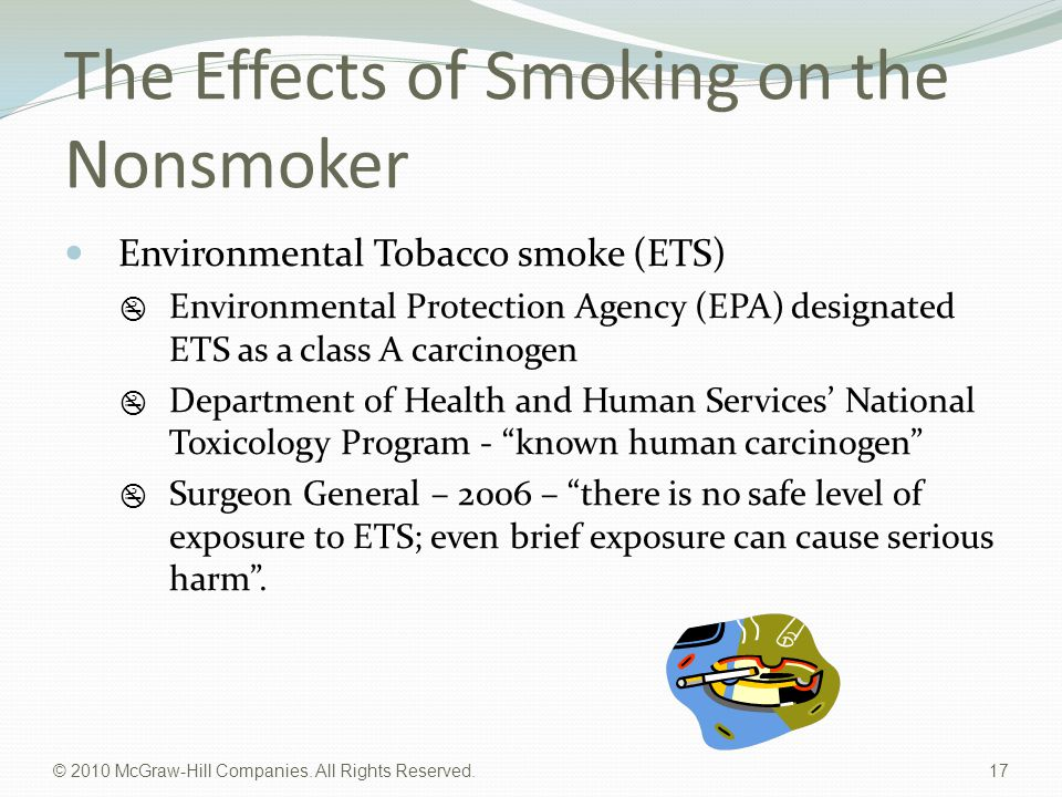 © 2010 McGraw-Hill Companies. All Rights Reserved. 17 The Effects of Smoking on the Nonsmoker Environmental Tobacco smoke (ETS)  Environmental Protec