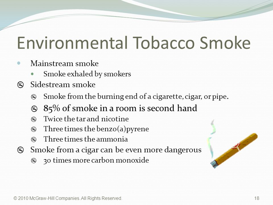 © 2010 McGraw-Hill Companies. All Rights Reserved. 18 Environmental Tobacco Smoke Mainstream smoke Smoke exhaled by smokers  Sidestream smoke  Smoke