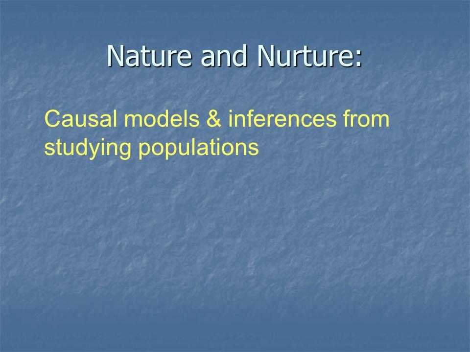 Genes (or nature)Environment (or nurture) A Continuum of Causation